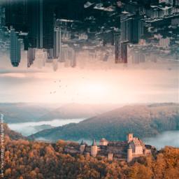 freetoedit city mountain reflection surreal
