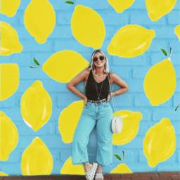 freetoedit remixit my design mydesign mypicsart myedit mycreation myreplay girl lemon pattern wall yellow blue sunny summer summertime summervibes aesthetic aestetic tumbrl