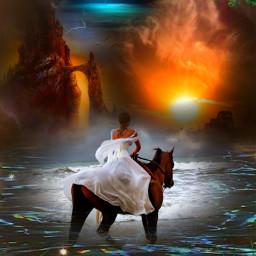 freetoedit magic horse girl sky imagination