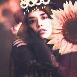 freetoedit sunflower enjoyinglife girlwithaflower