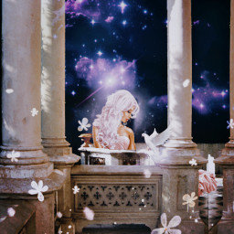 freetoedit space galaxy galaxyedit magic magical surreal surrealism papicks heypicsart be_creative madwithpicsart stayinspired createfromhome purple purplegalaxy purpleaesthetic girl dress castle palace bird