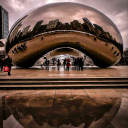freetoedit chicago chicagobean rain puddles winter cold cloudysky gloomyweather pcwaterreflection waterreflection
