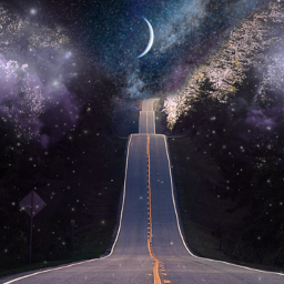 freetoedit surreal artisticedit moon psychedelic road clouds space night beautiful dark dreamy drive