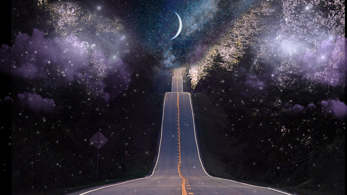 #freetoedit #surreal #artisticedit #moon #psychedelic #road #clouds #space #night #beautiful #dark #dreamy #drive