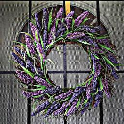 freetoedit wreath door screendoor purple flowers bouquet lavendar