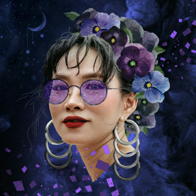 Galactic Girl #freetoedit #simplestyle #girl  #pretty #earings #hoops #repeating #redlips #pansies #flowers #night #galaxy #moon #stars #imagination #myimagination #create #stayinspired #madewithpicsart