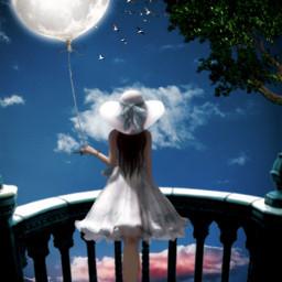 freetoedit sky night myedit nightsky araceliss madewithpicsart editedbyme moon ballonmoon surreal surrealism girl