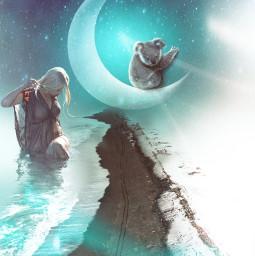 freetoedit moon woman koala artlayer papereffect curvetool