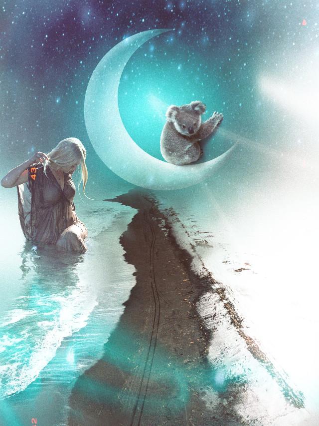 #freetoedit  Moon light serenade ♪  #moon #woman #koala #artlayer #papereffect #curvetool