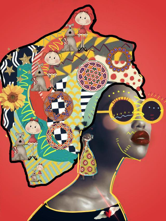 #freetoedit #woman #womanwearingheadscarf #scarffullofpatterns #brusheffect #littlegirl&dog #brusheffectblacklineoutliningheadscarf  #madewithpicsart #yellowframeglasses #goldstars #sketchereffect  #hairarteditingchallenge