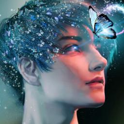freetoedit desafiopicsart mariposasazules mariposas lucesbrillantes fantasy boy anime chicos echairart hairart