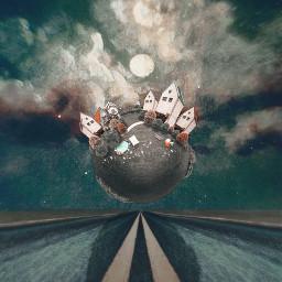 freetoedit surrealism surreal art littleplanet road sky clouds moon