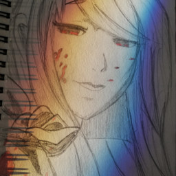 freetoedit myart sketch rize tokyoghoul anime girl rainbow light colors paper pincel hair red drawing sketchbook tokyo ghoul tokyo_ghoul mydrawing nofilter mydraw mysketch hopeyoulikeit