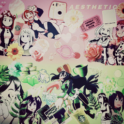 ochakouraraka tsuyuasui pink green aesthetic edit bnhadit pinkandgreen bestgirls soft freetoedit