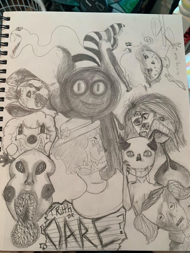 #freetoedit -1Heres this, its not finished but im working on it :)1- #creepy #drawing #art #pencilart #creepyart