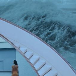 ocean sad melody depressed sea water blue stairs girl alone mentalhealth waves calm relax riverdale art freetoedit irccitrussteps citrussteps