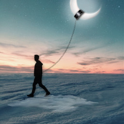 freetoedit moon sky clouds walk walker surreal myedit myart madewithpicsart joannart becreative heypicsart picsartmaster
