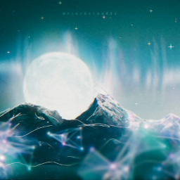madewithpicsart madebyme myedit mastershoutout magical moon mountains magic northernlights stars starrynight freetoedit