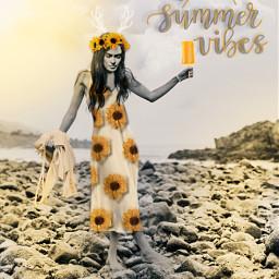 summervibes fridakahlo flowercrown yellow sun sundress sunflowers beach myedit frida unibrow_queen freetoedit