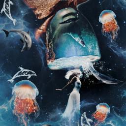 freetoedit water underwater blue blueaesthetic aqua papicks heypicsart be_creative madwithpicsart stayinspired createfromhome picsartedit myedit space galaxy galaxyedit magic magical surreal surrealism jellyfish mermaid jellyfishremix dolphin