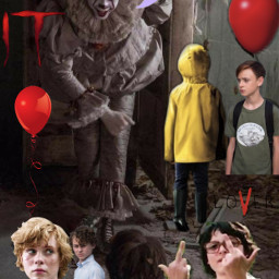 freetoedit pennywise thelosersclub it2017 clown derry evilclownsneverdie evilclown pennywisetheclown losers itchapterone fanart beepbeeprichie redballoons