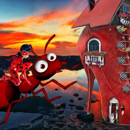 freetoedit red shoe ant insect girl sunset fantasy surreal