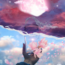 freetoedit flower aesthetic pink petals voteforme papertear brush moon lenflare