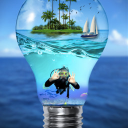 freetoedit ftestickers surreal myedit madewithpicsart araceliss bombillo bulb lightbulb island underwater manipulation
