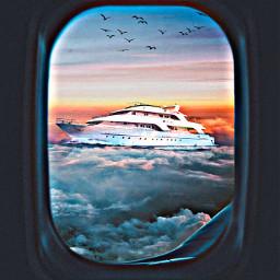 unsplash freetoedit shipboat airplanewindow flockofbirds