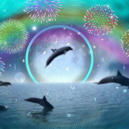 freetoedit dolphins rainbow fireworks stickers blureffect ecintothewater intothewater