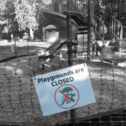 sign playground park nofunallowed blackandwhite colorsplash freetoedit