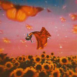 freetoedit fantasy girl land fields flowers butterflies falling poetry