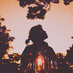 girl outline up forest sunset trees vintageeffect scratch silhouette freetoedit