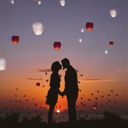 freetoedit mastershoutout shillhouette couple floatinglanterns ftestickers
