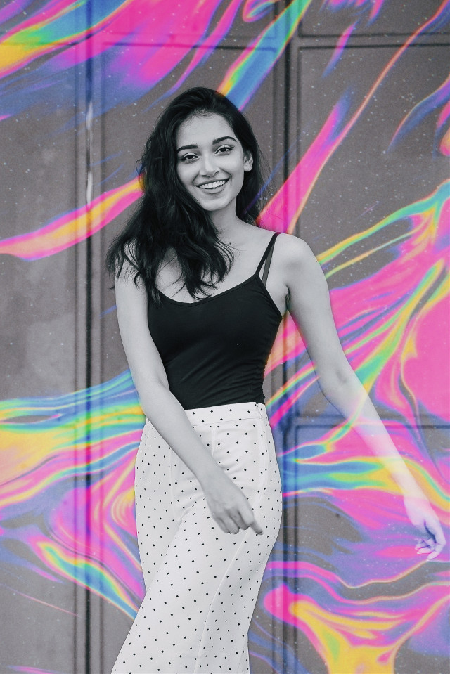 #freetoedit #colors #blackandwhite #trendy #aesthetic #replay #girl #happy #cool #holographic