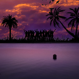 freetoedit madewithpicsart myedit silhouette doubleexposure beach party