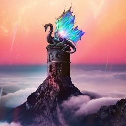 freetoedit myedit madewithpicsart dragon castle fantasy fairytail landscape surreal words