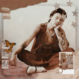 freetoedit harry styles wallpaper harrystyles onedirection remixit vintage aesthetic brown brownaesthetic