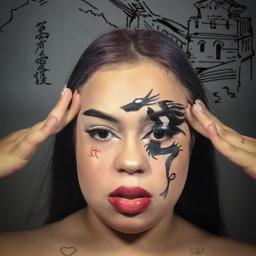 freetoedit makeup chinastyle girl simple
