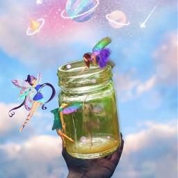 freetoedit fantasyart jar fairies fairy dreamy surreal surrealistic cloudsandsky colorful pastelcolors aestheticedit artistic myimagination becreative makebelieve makeawesome myedit madewithpicsart ircmagicjar magicjar