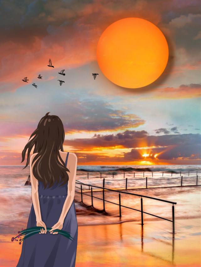 #freetoedit #ocean #sea #beach #nightsky #sunset #skyscape #skylovers #skyporn  #naturesbeauty #stickerart #picsarteffects #makeawesome #becreative #myedit #madewithpicsart