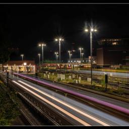 nightphotography trainstation lighttrails longtimeexposure berlin freetoedit
