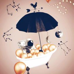 freetoedit astronaut upinthesky imagination floating balloons astronomy bathtub umbrella creative