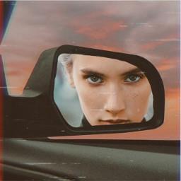 bored car mirror reflection cool imwatchingyou lol freetoedit