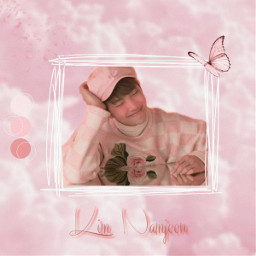 rm kimnamjoon namjoon bts btsedit namjoonedit rmedit pink aesthetic pinkaesthetic cute cuteboy bighit butterfly clouds kpop boyband firstedits noob noobedit beginner freetoedit