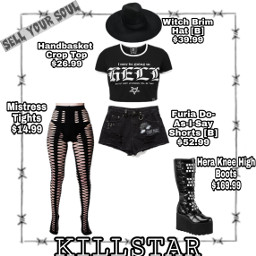 freetoedit gothiclook black killstar outfit goth