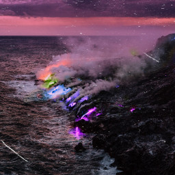color colorful colors dreamy dream clouds volcano volcanic sea beautiful artisticedit myedit vibes aesthetic unsplash