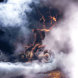 rider motorcycle smoke mission freetoedit