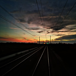 morning sunrise railway railroad clouds sky freetoedit