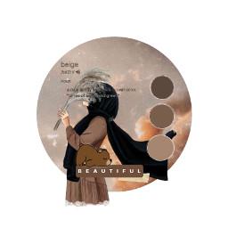 muslimah beige beigeaesthetic aesthetic bear cute kawaii clouds brown edit freetoedit